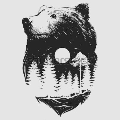 Plakat Streszczenie głowa niedźwiedzia