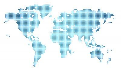 Plakat Streszczenie ilustracji wektorowych przerywaną mapa świata