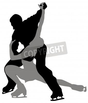 Plakat Streszczenie ilustracji wektorowych scating pary figury