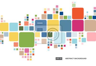Plakat Streszczenie kolorowe geometryczne kwadratowy wzór granicy na bia? Ym tle