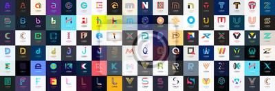 Plakat Streszczenie logo mega kolekcja z literami. Geometryczne abstrakcyjne logo