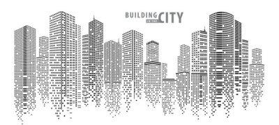 Plakat Streszczenie miasto wektor, przejrzysty krajobraz miasta, kropki budynek w nocy Miasto