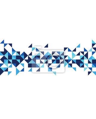 Plakat Streszczenie niebieskim retro wzór na białym tle