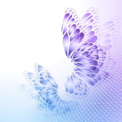 Plakat Streszczenie niebieskim tle z motyla