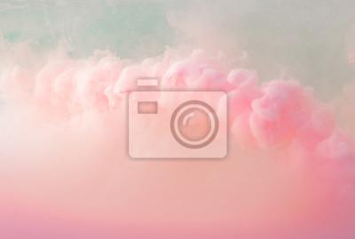 Plakat Streszczenie pastelowy różowy kolor farby z pastelowym niebieskim tle .. Płynna kompozycja z miejsca kopiowania. Minimalny naturalny luksus.