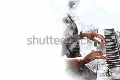 Plakat Streszczenie pi? Kna dłoń gra klawiatury fortepianu pierwszego planu Akwarele tła i Digital ilustracji pędzla do sztuki.