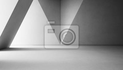 Plakat Streszczenie projektu wnętrz nowoczesnego salonu z pustą białą podłogę betonową i szarą ścianą - 3d renderowania