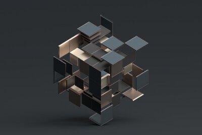 Plakat Streszczenie renderowania 3d kształtów geometrycznych.