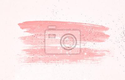 Plakat Streszczenie różowy akwarela splash i złoty brokat w nostalgicznych kolorach vintage.