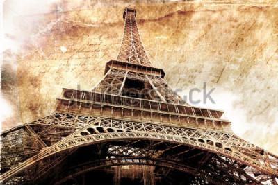 Plakat Streszczenie sztuki cyfrowej wieży Eiffla w Paryżu, złoto. Stary papier. Pocztówka, wysoka rozdzielczość, druk na płótnie