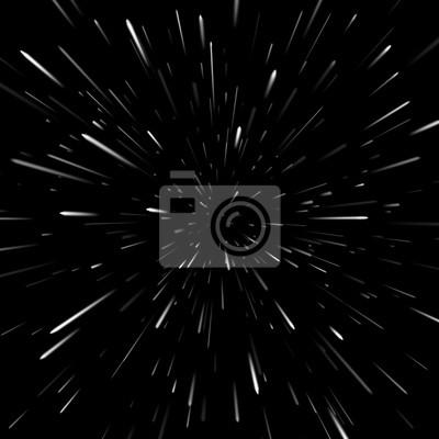 Plakat Streszczenie tło wektor z Star Warp lub Hyperspace. Światło poruszających się gwiazd.