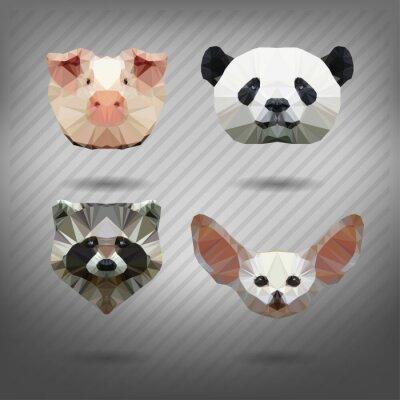 Plakat streszczenie trójkąt wielokątne zwierząt w stylu origami