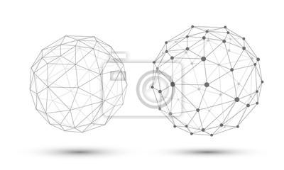 Plakat Streszczenie wektora kuli. Struktura połączenia. Geometryczne Modern Technology Concept.