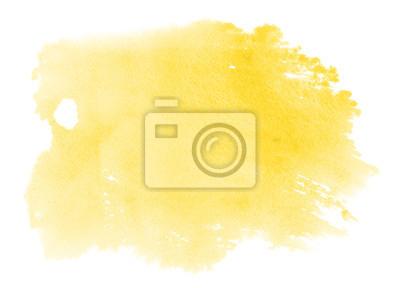 Plakat Streszczenie wibrujący żółty akwarela na białym tle. Kolor rozpryskiwania na papierze.