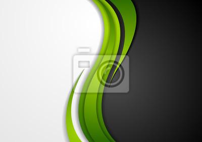 Plakat Streszczenie zielony czarny szary faliste tle