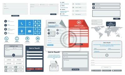 Plakat Strona web form płaski kontakt