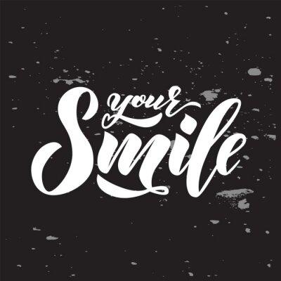 Plakat Strony napis tekstu Twój uśmiech na tablicy. Fraza inspiracji. Wektor napis