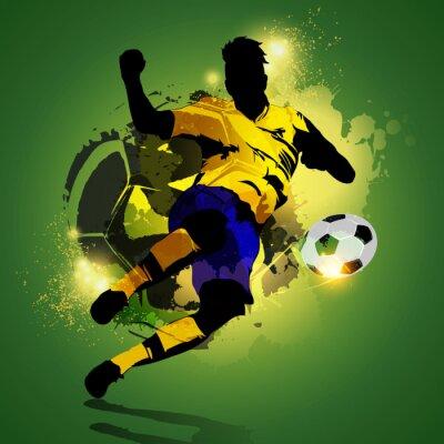 Plakat Strzelać kolorowe piłkarz
