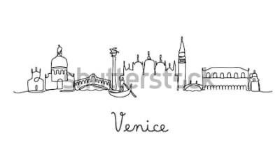 Plakat Styl jednej linii Panoramę miasta Wenecja. Prosty nowoczesny styl minimaistyczny wektor.