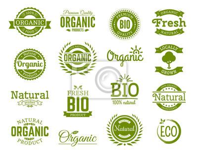 Plakat Styl retro zestaw 100% bio, naturalne, organiczne, ekologiczne, zdrowe, Premium Quality etykietowania żywności. Logo szablony z rocznika elementów w kolorze zielonym dla tożsamości, opakowania. Zestaw