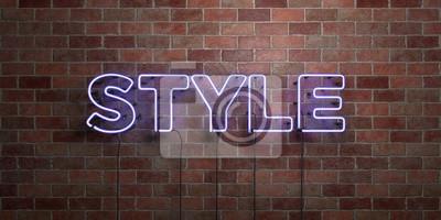 Plakat STYLE - fluorescencyjny neon rury Zarejestruj się na mur - widok z przodu - 3D świadczonych ilustracji wektorowych. Może być używany do reklam online i bezpośrednich mailerów.