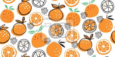 Plakat Stylish citrus oranges fruits seamless pattern