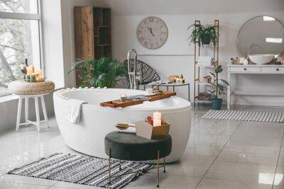 Plakat Stylish interior of modern bathroom with burning candles