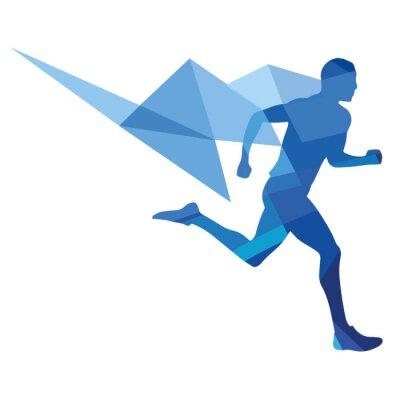 Plakat Stylizowane lekkoatleta, geometryczny wzór