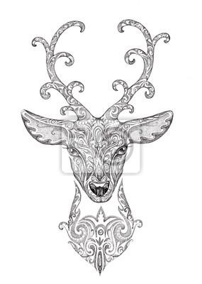 Plakat Stylizowany Wizerunek Tatuaż Piękny Las Z Rogów Jelenia