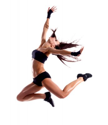 Plakat Stylowy i nowoczesny skoki młoda tancerka stylu