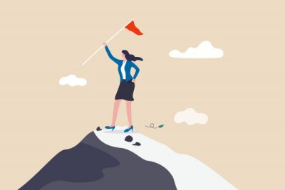 Plakat Success businesswoman, female leadership to achieve business target or gender equality embracing lady power concept, success confidence businesswoman holding winner flag on top of mountain peak.