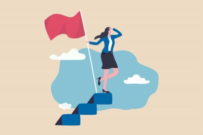 Plakat Success female entrepreneur, woman leadership or challenge and achievement concept, success businesswoman on top of career staircase holding winning flag looking for future visionary.