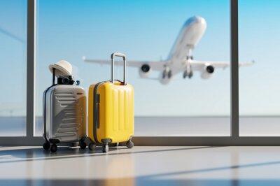 Plakat Suitcases in airport. Travel concept. 3d rendering