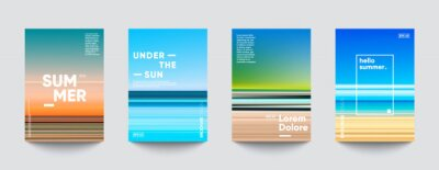 Plakat Summer backgrounds set. Creative gradients in summer colors. Ocean horizon, beach and sunsets.