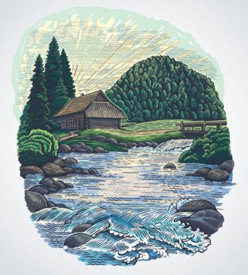 Plakat Summer landscape with a hut and a mountain river surrounded by hills covered with forest