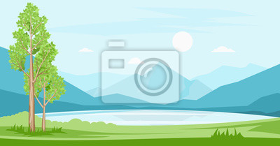 Plakat Summer landscape with lake and mountains