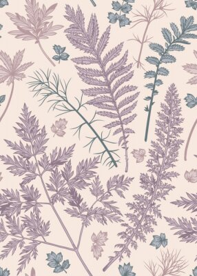 Plakat Summer seamless pattern with leaves and herbs. Vector botanical illustration. Lilac, blue, pink.