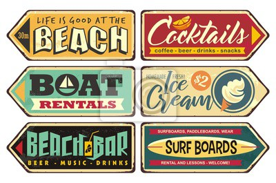 Plakat Summer signs collection. Beach, cocktails, ice cream, boat rentals, beach bar, surf boards. Seasonal posters and sign boards collection. Retro vector ads. Vintage illustrations.