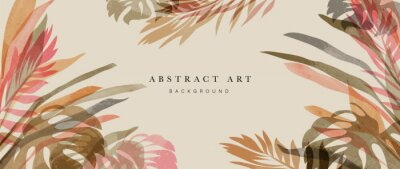 Plakat Summer tropical background vector. Palm leaves, monstera leaf, Botanical watercolor background  for wall framed prints, wall art, invitation, canvas prints, poster, home decor, cover, wallpaper.