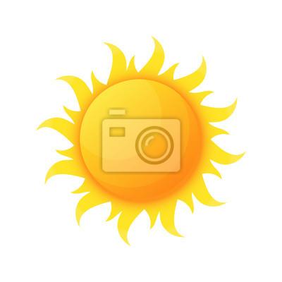 Plakat Sun illuminating warmth and heat vector, isolated sunburst, solar planet floating, isolated icon in flat style. Sunlight and fine weather beam and sunburst