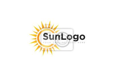 Plakat sun logo and icon Vector design Template. Vector Illustrator Eps.10