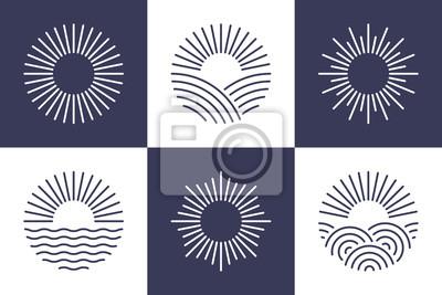 Plakat Sun logotype collection. Isolated abstract round shape logo set. Modern, simple flat vector illustration.
