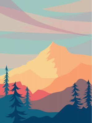 Plakat sunny landscape with mountains. warm illustration with hills, trees and clouds. Vector horizontal background