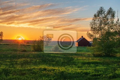 Plakat sunrise over farm