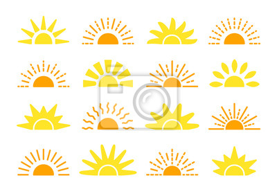 Plakat Sunrise & sunset symbol collection. Flat vector icons. Morning sunlight signs. Isolated objects. Yellow sun rise over horison