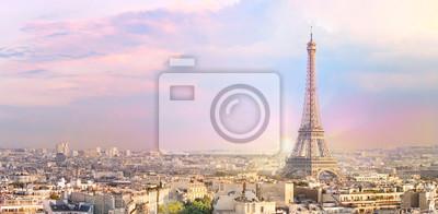 Plakat Sunset Eiffel tower and Paris city view form Triumph Arc. Eiffel Tower from Champ de Mars, Paris, France. Beautiful Romantic background.