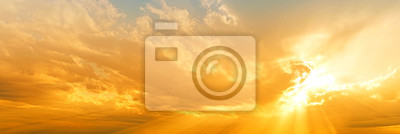 Plakat sunset sky panorama landscape background natural color of evening landscape with setting sun light coming through clouds panoramic view