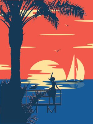 Plakat Sunset summer tropical beach with palm trees and sea. Nature landscape and seascape.