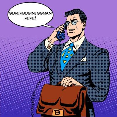 Plakat Super biznesmen bohater rozmowy telefoniczne sukces finansowy