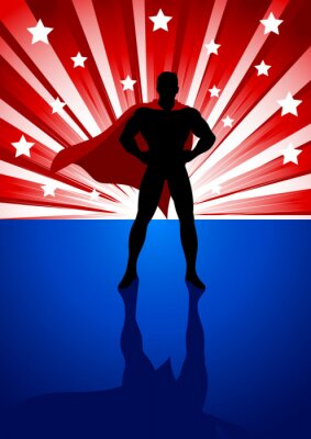 Plakat Superbohatera stoi przed jasnym rozbłysku